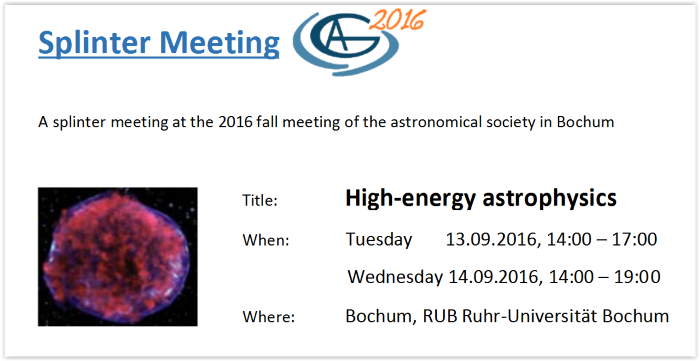 Splinter Meeting: High-Energy Astrophysics